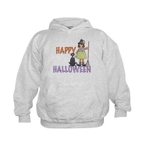 Halloween Witch and Cat Kids Hoodie