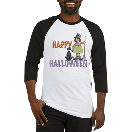 Halloween Witch and Cat Baseball Jersey