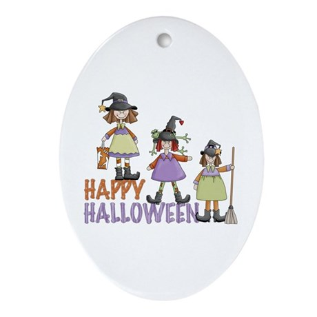 Sister Witches Halloween Ornament (Oval)