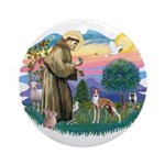 St Francis #2/ Whippet #12 Ornament (Round)