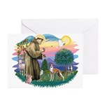 St Francis #2/ Whippet #12 Greeting Cards (Pk of 2