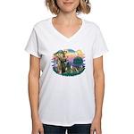 St Francis #2/ Whippet #12 Women's V-Neck T-Shirt