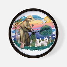 St Francis #2 / Westies (2) Wall Clock