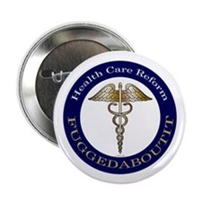"Fuggedaboutit Gold Caduceus 2.25"" Button"