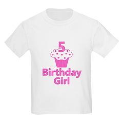 5 Cupcake Birthday Girl T-Shirt