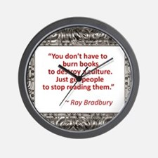 Bradbury on Books Wall Clock