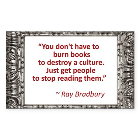 Bradbury on Books Sticker (Rectangle)