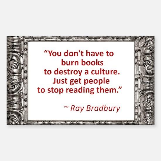 Bradbury on Books Sticker (Rectangle)