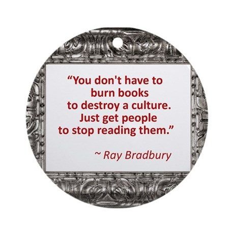 Bradbury on Books Ornament (Round)
