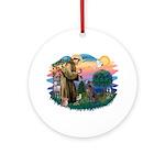 St Francis #2/ Weimaraner #1 Ornament (Round)