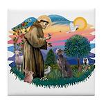 St Francis #2/ Weimaraner #1 Tile Coaster