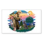 St Francis #2/ Weimaraner #1 Sticker (Rectangle)