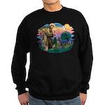 St Francis #2/ Weimaraner #1 Sweatshirt (dark)