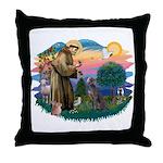 St Francis #2/ Weimaraner #1 Throw Pillow