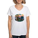 St Francis #2/ Weimaraner #1 Women's V-Neck T-Shir