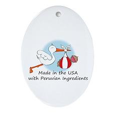 Stork Baby Peru USA Ornament (Oval)