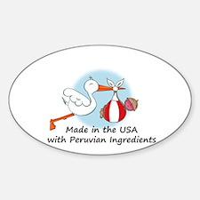 Stork Baby Peru USA Sticker (Oval)