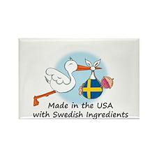 Stork Baby Sweden USA Rectangle Magnet