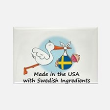 Stork Baby Sweden USA Rectangle Magnet