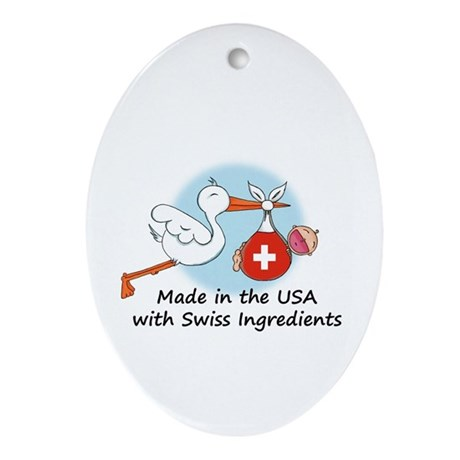 Stork Baby Switzerland USA Ornament (Oval)