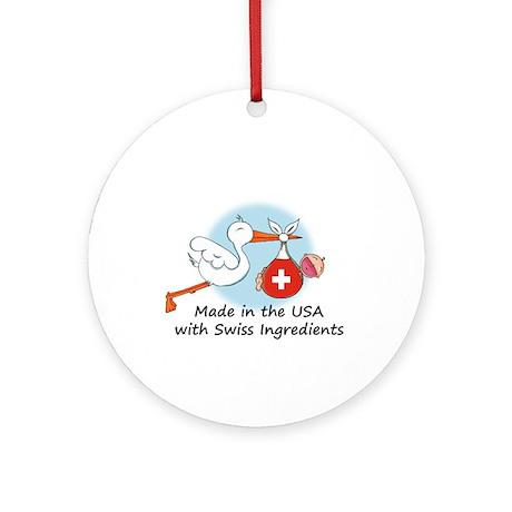 Stork Baby Switzerland USA Ornament (Round)