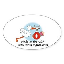 Stork Baby Switzerland USA Decal