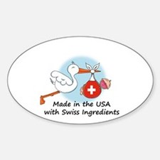 Stork Baby Switzerland USA Sticker (Oval)