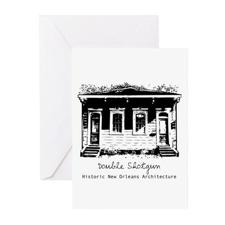 New Orleans Double Shotgun Greeting Cards (Package