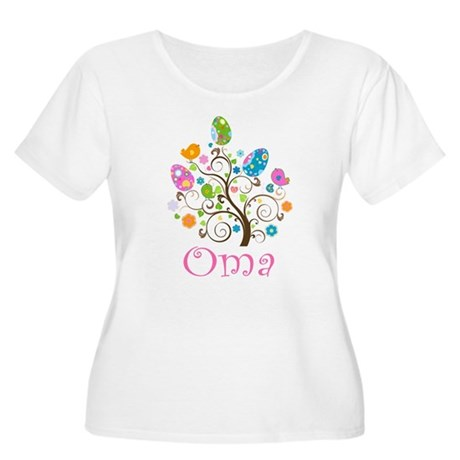 Oma Easter Egg Tree Women's Plus Size Scoop Neck T