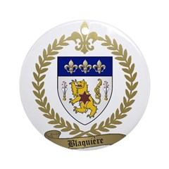 BLAQUIERE Family Crest Ornament (Round)