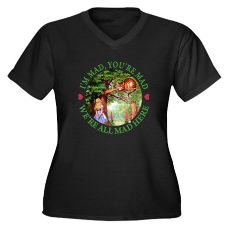 WE'RE ALL MAD HERE Women's Plus Size V-Neck Dark T