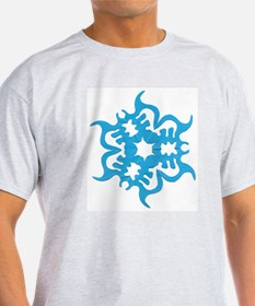 Blue Snowflake Ash Grey T-Shirt