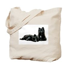 Black Pomeranian Puppy Tote Bag