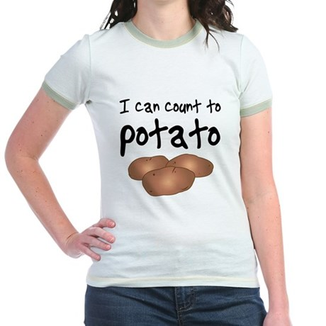I Can Count to Potato, Ash Grey Jr. Ringer T-Shirt I Can ...