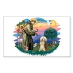 St. Fran. & Bearded Collie Sticker (Rectangle)