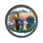 St. Fran. & Bearded Collie Wall Clock