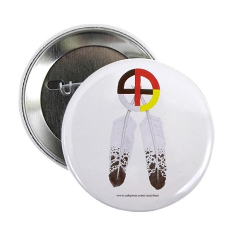 """Medicine Wheel w/ Feathers 2.25"""" Button (100 pack)"""