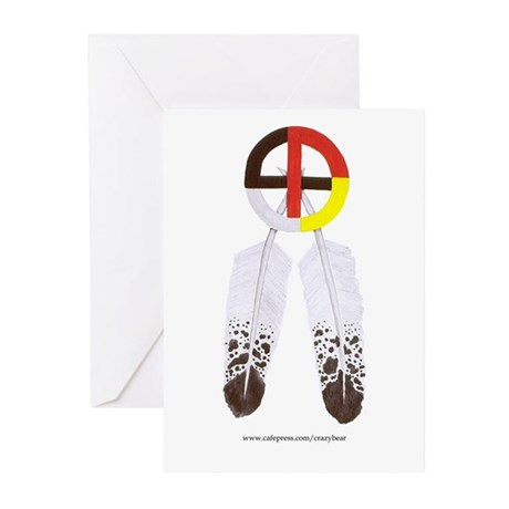 Medicine Wheel w/ Feathers Greeting Cards (Package