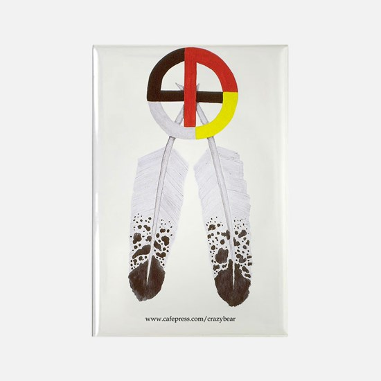 Medicine Wheel w/ Feathers Rectangle Magnet (10 pa