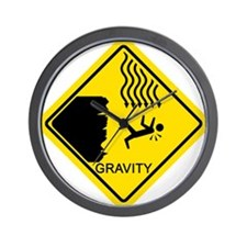 Gravity Yield Sign Wall Clock