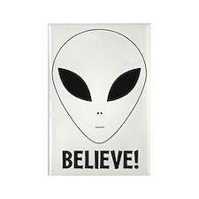 Believe! Alien Rectangle Magnet