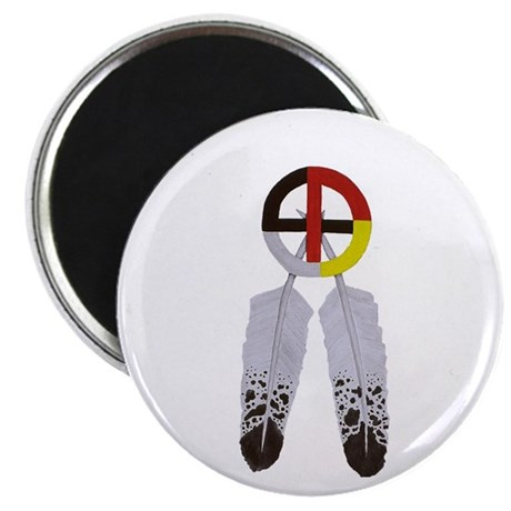 """Medicine Wheel w/ Feathers 2.25"""" Magnet (100 pack)"""
