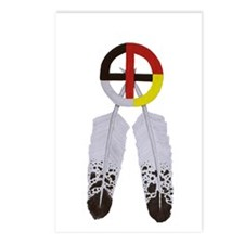 Medicine Wheel w/ Feathers Postcards (Package of 8