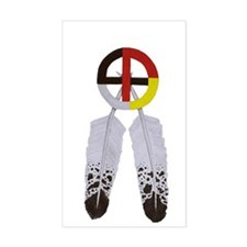 Medicine Wheel w/ Feathers Rectangle Decal