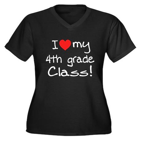 4th Grade Class: Women's Plus Size V-Neck Dark T-S