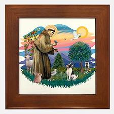 St Francis #2/ Toy Fox Ter. Framed Tile