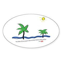 Oceanside view Sticker (Oval)