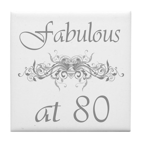 Fabulous At 80 Years Old Tile Coaster