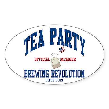 TEA PARTY BREWING REVOLUTION Sticker (Oval 10 pk)