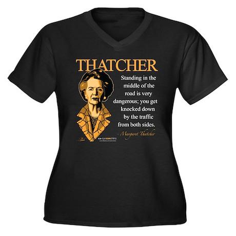Margaret Thatcher Women's Plus Size V-Neck Dark T-